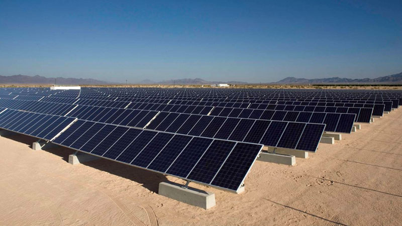 solar panels in desert setting