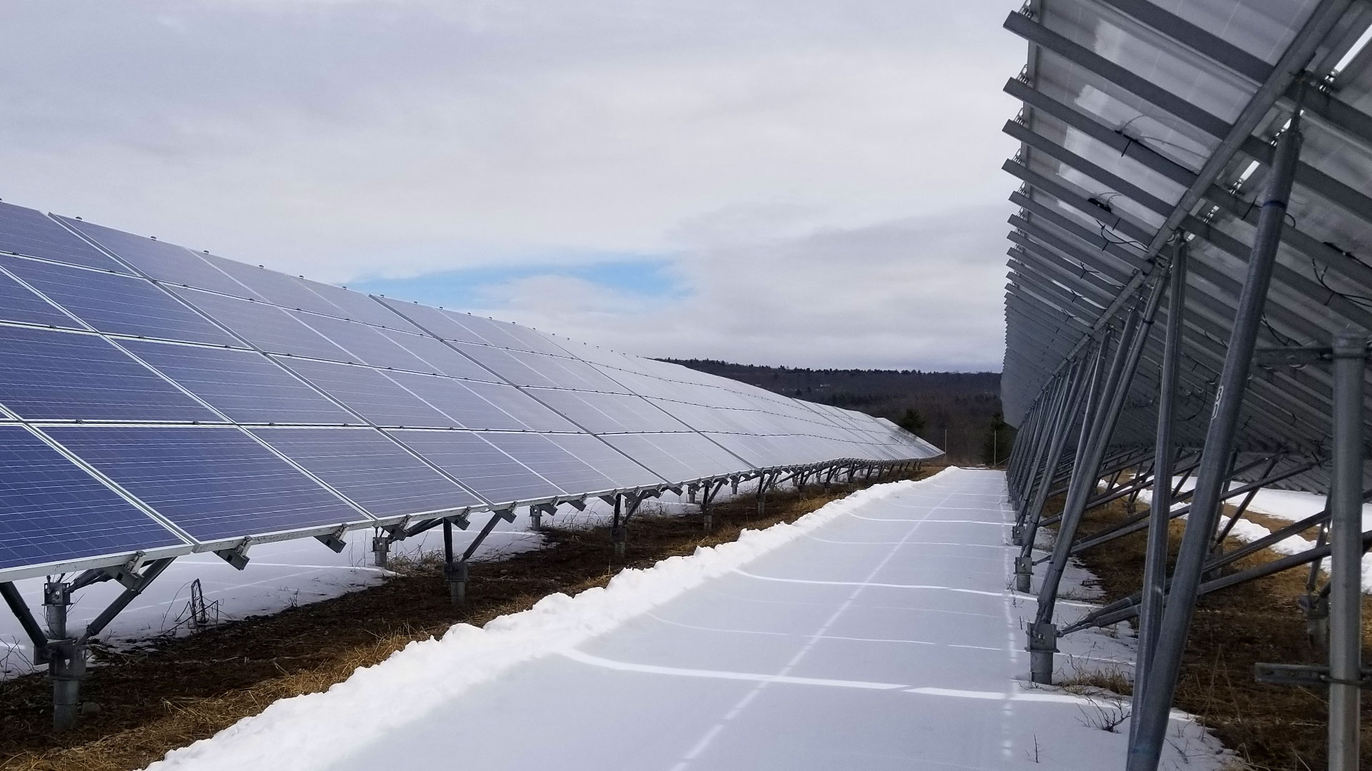 solar panels in a snow setting