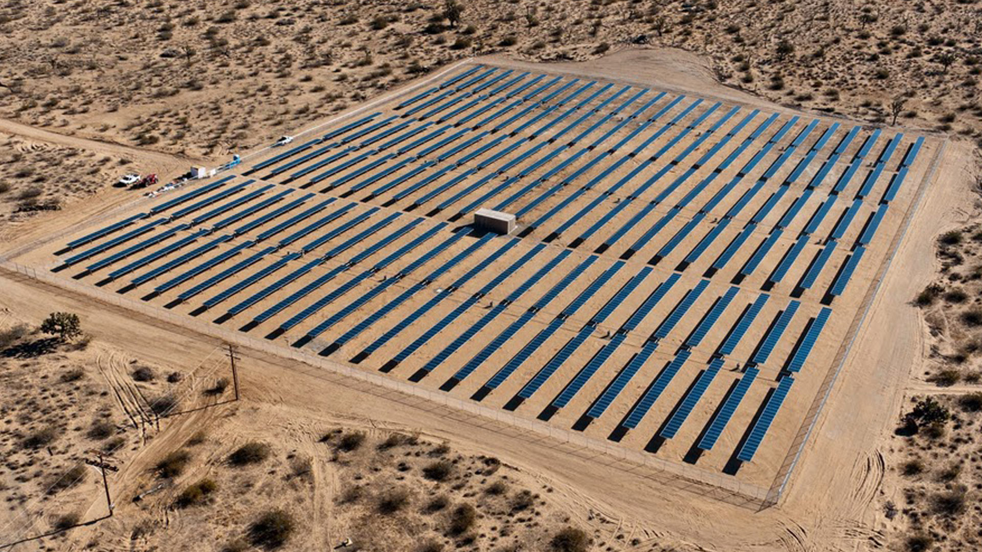 solar panels in a desert setting
