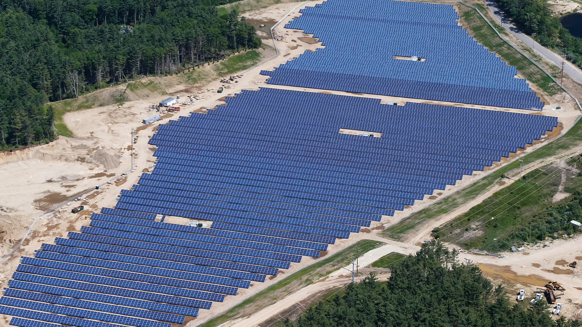 hundreds of solar panels